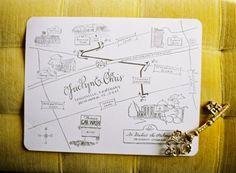simple but beautiful line drawn wedding invitation map