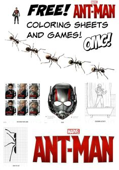 Check out these really cool free Ant Man games and coloring sheets for kids, fror marvel Studios. Totally awesome.