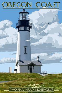 Oregon Coast - Yaquina Head Lighthouse - Lantern Press Artwork (Art Print Available) National Park Posters, National Parks, Lighthouse Art, Oregon Travel, Stock Art, Oregon Coast, Vintage Travel Posters, Places To Go, Animation