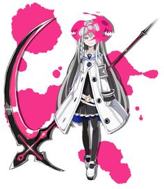 View an image titled 'Gretel, Massacre Mode Art' in our Mary Skelter: Nightmares art gallery featuring official character designs, concept art, and promo pictures. Fantasy Character Design, Character Design Inspiration, Character Concept, Character Art, Anime Weapons, Fantasy Weapons, Fantasy Characters, Female Characters, Anime Scythe