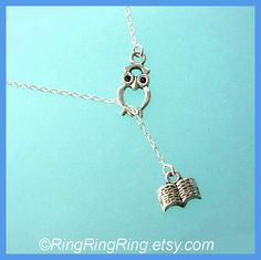 Owl and book necklace - Sterling silver necklace jewelry, gift  for book lover, graduation 120412 (WANT!)