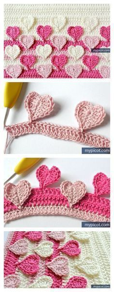 Hearts Multicolored Crochet Stitch Free Pattern - get ready for Valentine's Day with this adorable pattern #crochetstitches