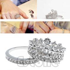 New Fashion White Sapphire Gem Women Ladies Crown Wedding Band Ring Set Size 5-8