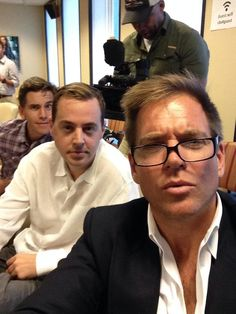 Brian Dietzen, Sean Murray, and Michael Weatherly live-tweeting during the season 12 premiere of NCIS on September 23, 2014.
