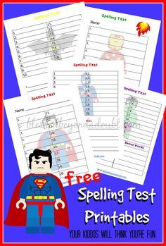 FREE Lego Spelling Test Printables! - http://www.blessedbeyondadoubt.com/free-lego-spelling-test-printables/
