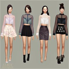SIMS4 marigold: New See-through Crop Blouse_ cropped see-through blouses _ New Girl Costume