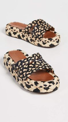 085af72ada Clergerie Alize Flatform Slide Espadrilles Slide Sandals, Flat Sandals,  Cute Shoes, Open Toe