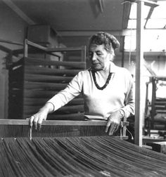 "Adelgunde ""Gunta"" Stölzl | b. Munich, Germany 1897 | attended Kunstgewerbeschule (School of Arts and Crafts), Munich | studied at and oversaw the Bauhaus Weaving Workshop, Weimer + Dessau, Germany | Swiss citizenship 1942 | d. Zurich 1983"