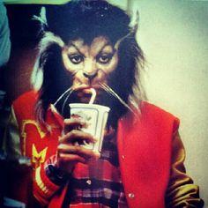 Michael Jackson in Werewolf Makeup Enjoying a Tasty Beverage