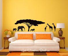 Africa Decal African Tree Giraffe Animal by GetCreativeStudios