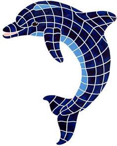 "Medium Blue Dolphin Up Mosaic 36""x27"""