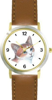 Red and White Cat - JP - WATCHBUDDY® DELUXE TWO-TONE THEME WATCH - Arabic Numbers - Brown Leather Strap-Children's Size-Small ( Boy's Size & Girl's Size ) WatchBuddy. $49.95. Save 38% Off!