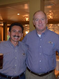 Long-time board members Luis Villafania, owner of Advanced Heating and Cooling and Steve Johnson with Surety Services, Inc., at the dinner immediately following the PAC Shoot at Loch Raven Reservoir.