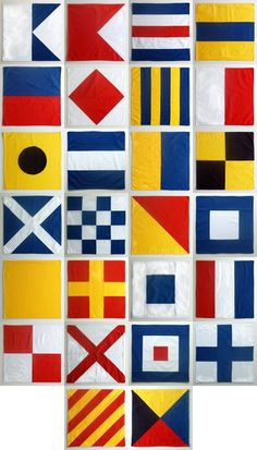 tutorial:  nautical flag fabric napkins  {each pattern represents a letter of the alphabet}