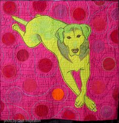 Green Dog with Orange Ball by Cindy Cooksey (California, USA). Photo by Quilt Inspiration. Dog Quilts, Animal Quilts, Marley And Me, International Quilt Festival, Fabric Art, Fiber Art, Disney Characters, Fictional Characters, Moose Art