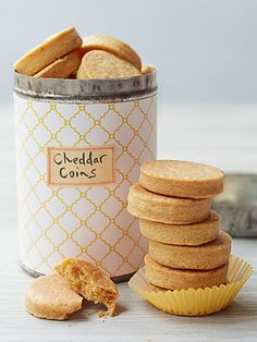 These savory Cheddar shortbreads with a hint of cayenne are a nice break from the sugar rush — and totally make-ahead. Get the Cheddar Coins recipe (Christmas Bake Sale) Bake Sale Treats, Bake Sale Recipes, Baking Recipes, Cookie Recipes, Snack Recipes, Cookie Ideas, Bread Recipes, Sugar Rush, Cheddar