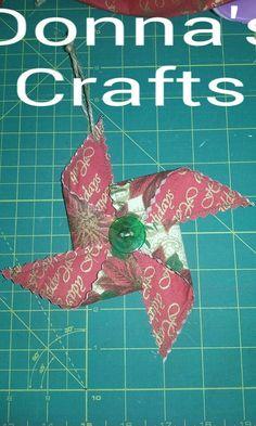 Christmas Pinwheel, Christmas Ornament, Pinwheel Ornament, Fabric Ornament, Red Ornament, Green Ornament - pinned by pin4etsy.com