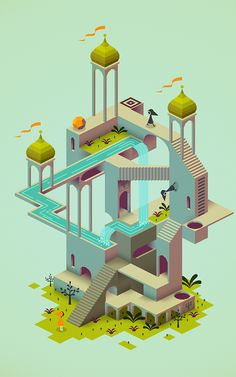 Monument Valley - Mind-Bending iPad App Channels M. Game Design, Design Isométrico, Level Design, Design Trends, Flat Design, Isometric Art, Isometric Design, Ipad App, Indie Games