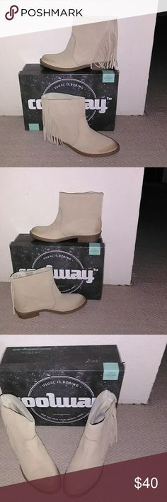 Coolway beige suade fringe boot NWT New in box, Coolway ankle boots, light beige  color with fringe. Super cute, high quality craftsmanship, made in Spain. US size 7 EU 38. I hate to get ride of these but they're  about a size too small for me. coolway Shoes Ankle Boots & Booties