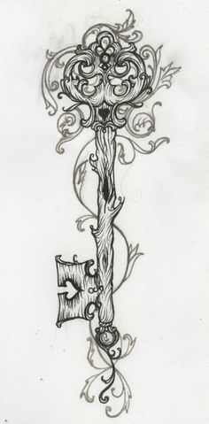 Wooden key tattoo. Would love for the other half to get this and for me to have a lock in the same style!