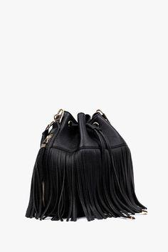 Black Leather Fringe Handbag with Shoulder Strap
