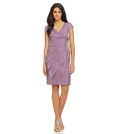 London Times Faux-Wrap Shutter Pleat Dress   Dillards.com
