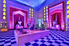 Are you looking for wedding decor in some traditional shades? Here is a beautiful yellow wedding decor with a touch of magenta pink elements! Purple Wedding Decorations, Stage Decorations, Flower Decorations, Yellow Purple Wedding, Purple Wisteria, Floral Chandelier, Black Vase, Pink Garden, Orange Background