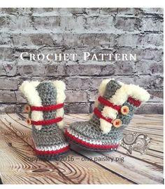 Work Sock Winter Booties - Sock Monkey Booties - Crochet Pattern (fun diy, cute crochet ideas) ༺✿Teresa Restegui http://www.pinterest.com/teretegui/✿༻