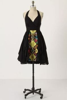 2f5fd7fd4c Anthropologie Floreat Black Embroidered Palenque Halter Dress Fashion Tips