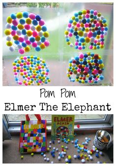 Pom Pom Elmer The Elephant. Create your own patchwork elephant using contact paper and pom poms. A great way to celebrate Elmer Day.
