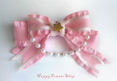Pink lolita ribbon brooch clip with star and pearls Ribbon Diy, Diy Bow, Kawaii Accessories, Hair Accessories, Beaded Watches, Super Short Hair, Rhinestone Bow, Art N Craft, Cute Cosplay