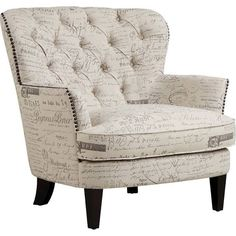 Prime Resources DS-2522-900-387 Upholstery Arm Chair Paris Script in