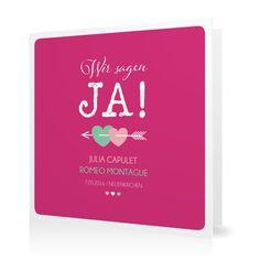 Hochzeitseinladung Amors Pfeil in Hibiskuspink - Klappkarte quadratisch #Hochzeit #Hochzeitskarten #Einladung #Foto #kreativ #modern https://www.goldbek.de/hochzeit/hochzeitskarten/einladung/hochzeitseinladung-amors-pfeil?color=hibiskuspink&design=47b88&utm_campaign=autoproducts