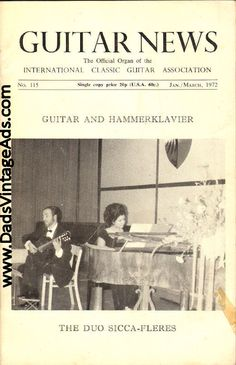 1972 Jan./March Guitar News Magazine Back-Issue - Guitar and Hammerklavier - The Duo Sicca-Fleres
