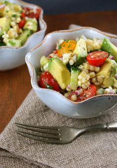 Avocado and Grilled Corn Salad with Cilantro Vinaigrette