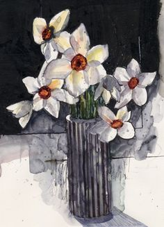 Narcissus,Flowers, watercolour, Kathy Lewis