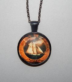 Ship pendant Ship necklace Vintage Ship Jewelry Nautical