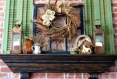 Fall Autumn Thanksgiving Mantel Mantle Decor, green shutters, lanterns, feathers