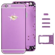 [$35.00] Full Assembly Replacement Housing Cover for iPhone 6, Including Back Cover & Card Tray &   Volume Control Key & Power Button & Mute Switch Vibrator Key(Purple)