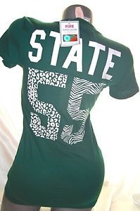 FOR THE MICHIGAN STATE FAN!! S~VICTORIA SECRET PINK MICHIGAN STATE SPARTANS FOOTBALL T SHIRT MSU TOP~NWT~LLA