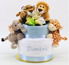 Mothers of newborn sons will love the bonny baby blue small baby embroidered boy jungle friends nappy cake nappy cakespersonalised giftsaustraliahampersfriendsbaby negle Gallery