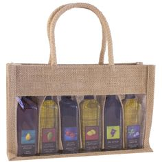 Bella Vita's natural colored sampler bags are designed to hold 6 sample-size bottles (typically 2 oz / 60mL). Great for sample sized olive oils, vinegar and liquor bottles. This natural jute bag features a clear window to show off the bottles, and dividers for protecting each one. A great way to create ready-made gift sets for your customers. #bellavitabags