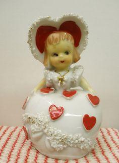 Vintage Lefton Valentine Girl Spaghetti Trim Figurine