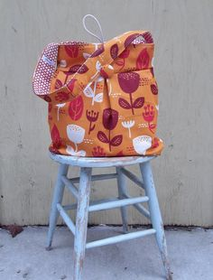 Reversible Knitting Bag sewed from Outside Oslo fabric, Wildflower print