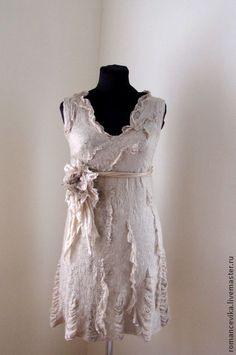 """Платья ручной работы. Ярмарка Мастеров - ручная работа. Купить авторское платье """"Beige breath"""", нуновойлок. Handmade. легкое платье"""