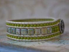 Beaded Wrap Bracelet, Wrap Bracelet, Beaded Bracelet, Bracelet, Czech Beads, Seed Beads, Blue, Lavender, Amber, Moss Green
