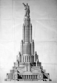 Palace of the Soviets - Intended to be the tallest building in the world of it's time, when it was drawn in 1932. Constuction started in the late thirties, but the building was never finished due to the outbreak of WW2.