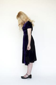 Image of Vintage Royal Purple Velvet Dress