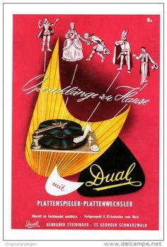 Original-Werbung/Inserat/ Anzeige 1955  - DUAL PLATTENSPIELER - ca. 180 x 120 mm