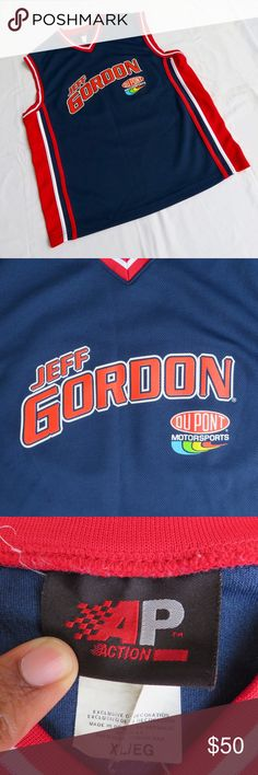 🔥🏎👕 VTG Jeff Gordon NASCAR Jersey XL Vintage Jeff Gordon NASCAR Racing Dupont Motorsports Navy Red # 24 Basketball Jersey   MENS size XL   AP Action brand on tag   printed graphics on jersey   Great used condition, minor flaw on graphics can be seen in picture and small stain Shirts